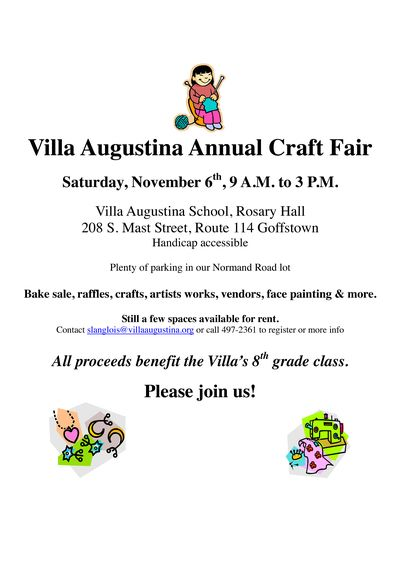 Villa Augustina Annual Craft Fair flyer 2010